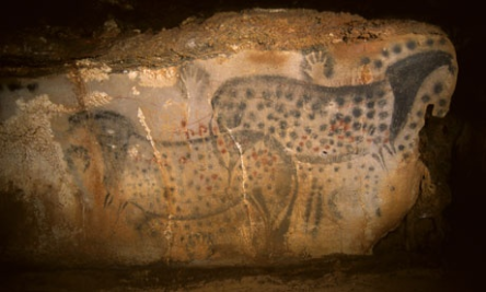 "Cave art, Peche Merle, France 25,000 y.a. Black on white horses existed at the time. These are actual and specific horses, not ""generic"" horses."