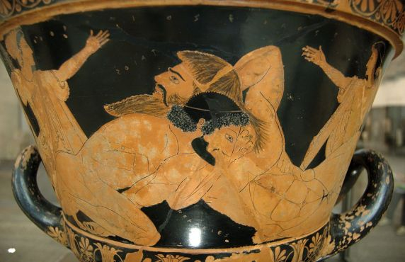 Herakles vs. Antaios: note the light colored hair (red or blonde) of the giant.