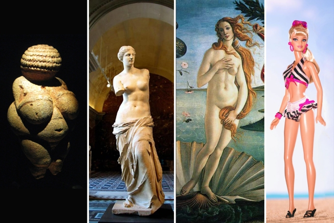Venus through time: all but one are physically viable women, except Barbie, who is an anatomical monstrosity.