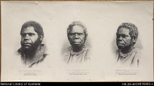 "From: National Library of Australia 1866 Photograph ""Aborigines of Tasmania: William Lanney, Coal River Tribe, 26 year. Lallah Rookh, or Truganini (Seaweed), female, Bruni (i.e. Bruny) Island Tribe, 65 year."