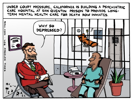 Under pressure from a state court, California is building a psychiatric care unit at San Quentin prison in order to provide long-term mental health care for death row inmates. If you think about it, it's slightly ironic.