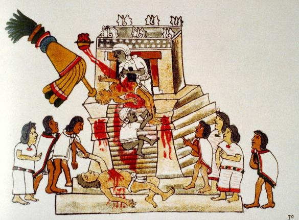Aztec priest performing the sacrificial offering of a living human's heart to the war god Huitzilopochtli. From the Codex Megliabecchi.