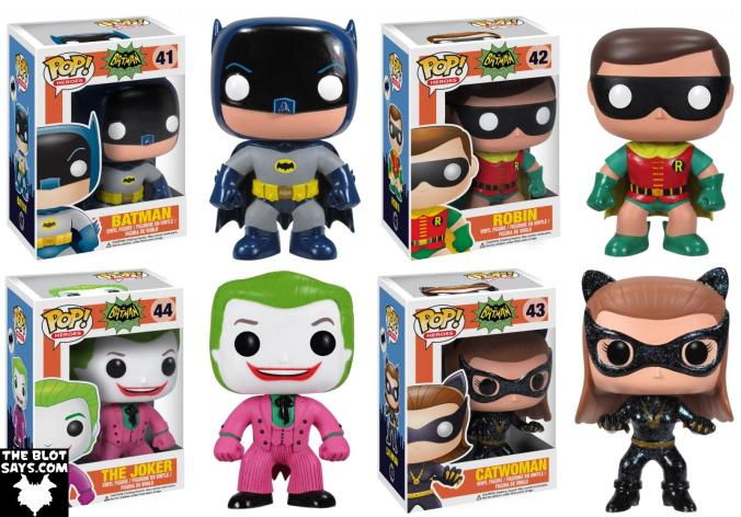 Batman 1966 Television Series DC Comics Pop! Heroes Vinyl Figures by Funko - Batman, Robin, The Joker & Catwoman
